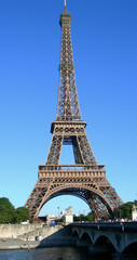 Landmark image of Eiffel Tower from the river Seine in Paris, France