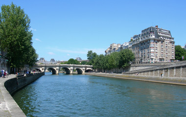 Classic architecture and bridge on the banks of the river Seine in Paris, France