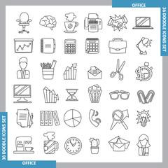 Doodle line art icons