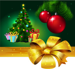 Banner with Colorful fir xmas tree and gift - vector illustration