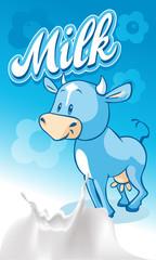 Cute blue smiling  ow on blue milk design - vector illustration