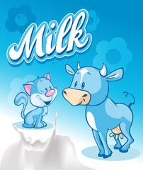 Cute cow and cat  on blue milk design - vector illustration