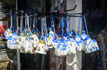 Small souvenirs of church on strap at Santorini island, Greece