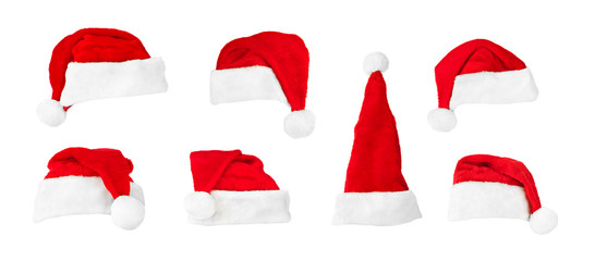 Set of Santa Claus red christmas hats