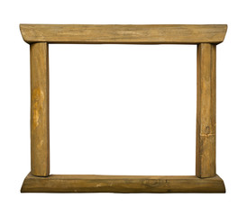 Wooden rustic frame on white background