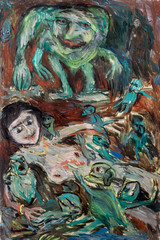 Abstract picture of a naked girl shrouded in terrible monsters in Impressionism style