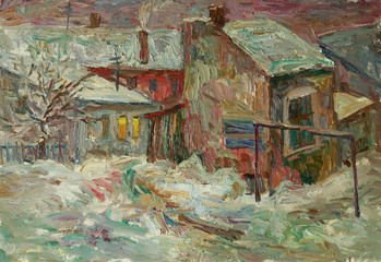 Beautiful bright colors  winter Original Oil Painting of street  On Canvas