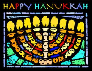 Happy Hanukkah Card with an Hannukia