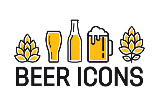 Set of colorful beer icons