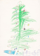 Original child (4 years) illustration - christmas tree with pres