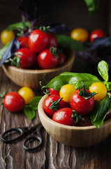 Concept of healthy eating with tomato and basil