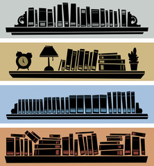 Four cartoon silhouette banners of books on bookshelves.