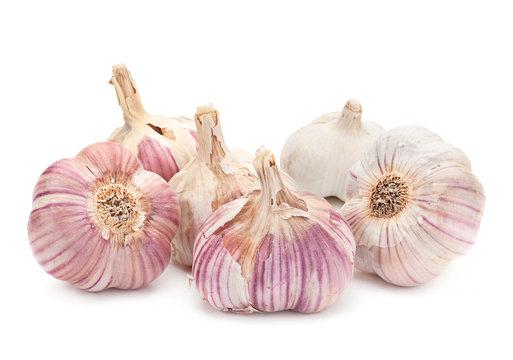 Garlic vegetable on white