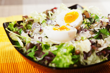 Salad with lettuce and eggs