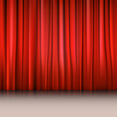 Close view of a red curtain