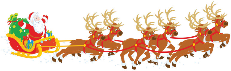 Magic reindeers flying Santa Claus with a sack of gifts in his sleigh on Christmas eve