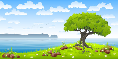 Wall Mural - Coastal landscape with tree and flowers