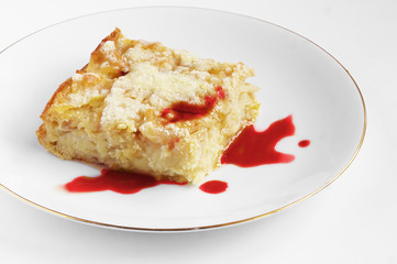 Piece of an apple pie with jam