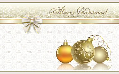 Christmas background with balls and snowflakes decorated with bow