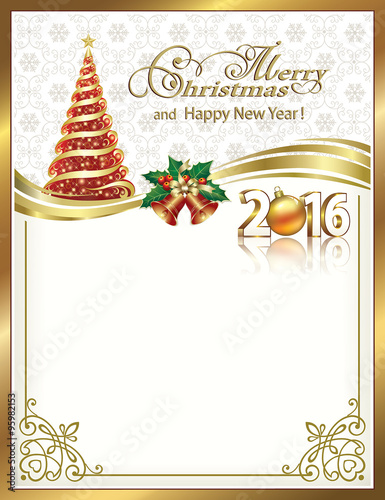 2016 christmas card with fir and bells in a frame with an ornament