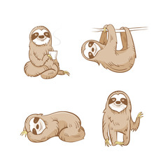 Cartoon cute  sloths set. Four sloths. Vector image.