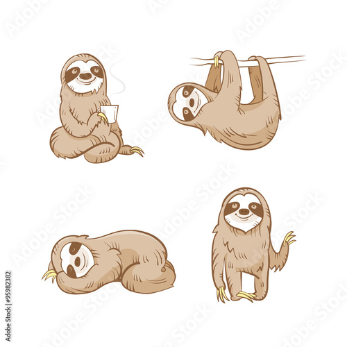 Cartoon Cute Sloths Set Four Sloths Vector Image