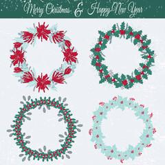 Christmas floral frames set