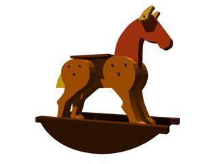 3d illustration of a Toy Rocking Horse on a white background