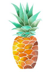 Illustration (image) with isolated yellow watercolor pineapple on a white background