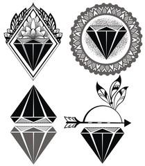 Diamond Vintage Hipster Labels of diamonds