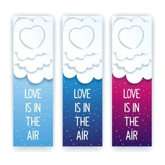 Heavenly romantic flyer with heart in the clouds. Love is in the air