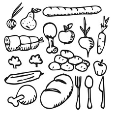 food vegetable fruit flat icon Doodle