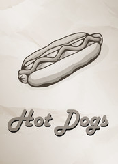 Grunge Cover for Fast Food Menu - hot dog on vintage background.  Vector illustration