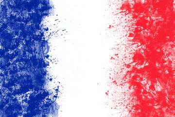 French flag created from splash colours blue white red.