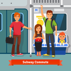 Subway commute. People sitting, standing in train