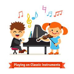 Boy and girl playing music on piano, violin