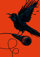Raven is holding a microphone. Rock illustration for posters.