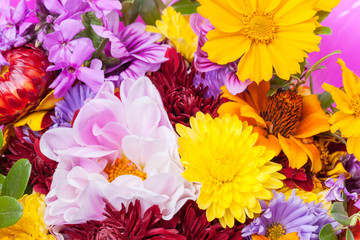 Colorful bouquet of different bright flowers