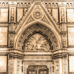 detail of Santa Croce cathedral in Florence in sepia tone