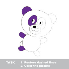 Vector trace game. Panda to be colored.