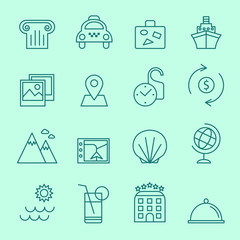 Travel icons, thin line design