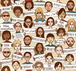 Hand gezeichnete Leute mit Willkommens-Schildern in verschiedenen Sprachen (seamless pattern / Hintergrundmuster)