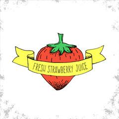 Hand Drawn Fresh Strawberry Juice Label