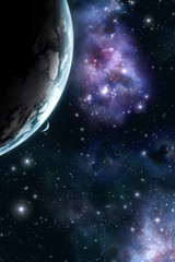 planet and moon with starfield background