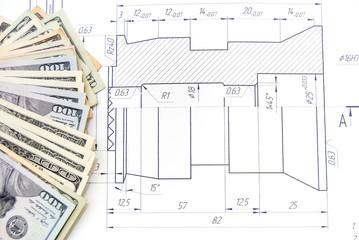 Engineering blueprint. drawing background
