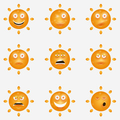 Cute vector set of SUN icons. Funny happy smiley suns. Happy doodles for your design. Bright and beautiful cartoon characters