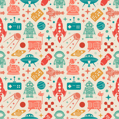Custom blinds with your photo Sci-fi retro pattern