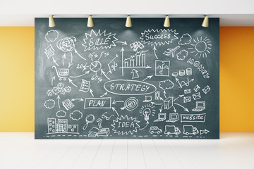 Business plan strategy on blackboard in empty room with white wo