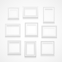 Vector set of white frames.