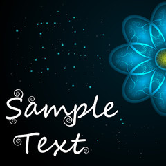 Vector abstract background with sample text. Decor is delicate. Perfect for invitations, card, announcement or greetings. Abstract flower with curls. Place for your text.